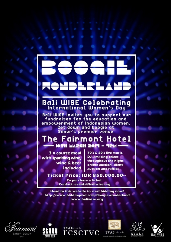 Boogie Wonderland Charity Event by Bali WISE at the Fairmont Sanur Flyer