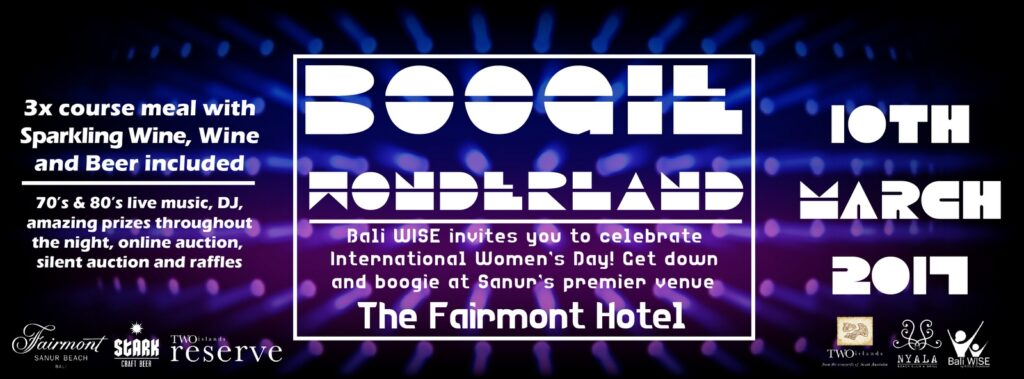 Boogie Wonderland Charity Event by Bali WISE at the Fairmont Sanur Banner